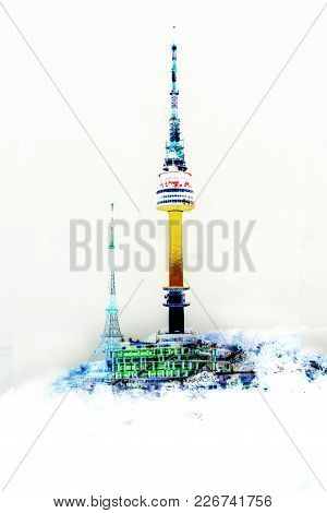 Seoul N Tower Colorful On White Background.