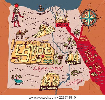 Illustrated Map Of Egypt. Travel And Attractions