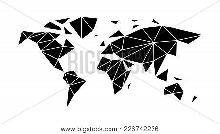 Modern, Flat World Map In The Style Of Triangulation For Interior, Design, Advertising, Icons, Scree