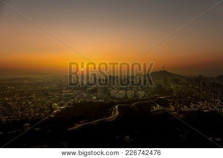 Seoul City Sunrise Skyline   With Seoul Tower.