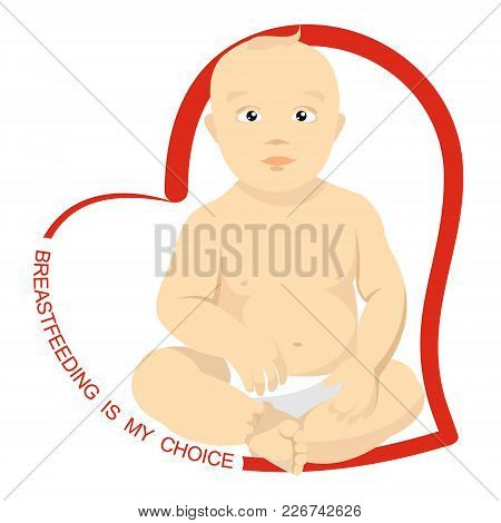 Sitting Baby With Heart Shaped Inscription