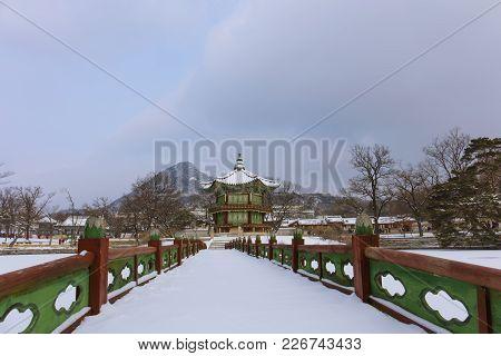 Gyeongbokgung Palace In Winter Season  Seoul,south Korea.