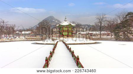 Hyangwonjeong Pavilion,gyeongbokgung Palace In Winter Seoul,south Korea.