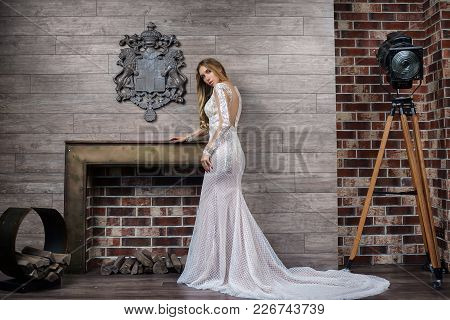Beautiful Wedding Dress. Bride In A Luxury Apartment In A Wedding Dress. Bride In Beautiful Dress St