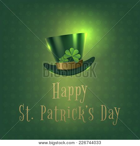 Happy Saint Patrick Day Banner With Green Hat. Vector Illustration