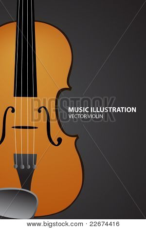 Vector illustration of violin on black bakcground