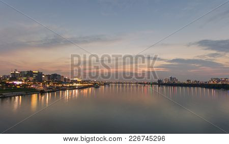 Sunset Twilight At Han River Seoul City  South Korea.