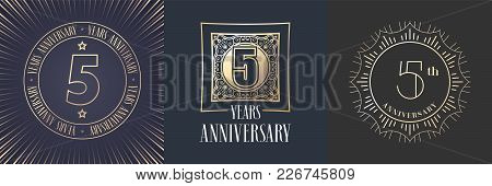 5 Years Anniversary Vector Icon, Logo Set. Graphic Round Gold Color Design Elements For 5th Annivers