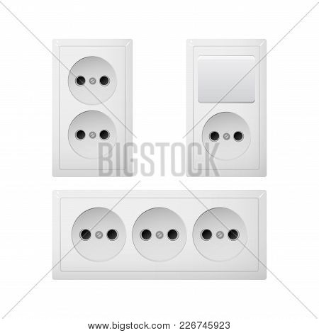 Electrical Socket Type C With Switch. Power Plug Vector Illustration. Realistic Receptacle From Asia