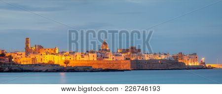 Monopoli Old Town Seascape, Puglia, Italy, Evening