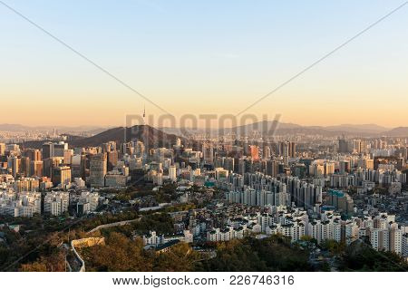 Seoul South Korea City Skylinewith Seoul Tower.