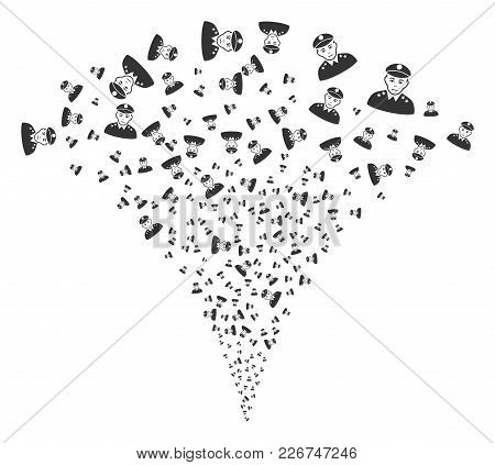 Army General Explosion Fountain. Vector Illustration Style Is Flat Iconic Symbols. Object Fountain O