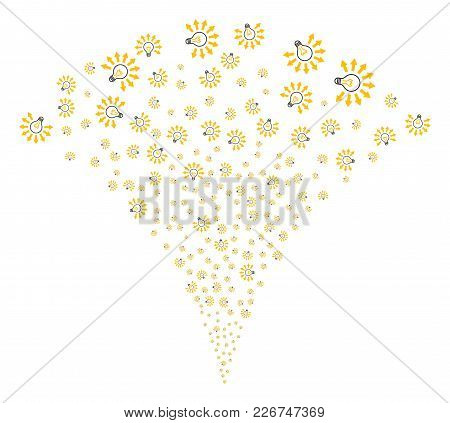 Light Bulb Burst Fountain. Vector Illustration Style Is Flat Iconic Symbols. Object Fountain Made Fr
