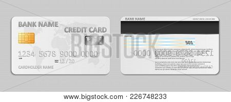 Realistic White Bank Credit Card Template Isolated. Bank Plastic Credit Card Mockup With Chip And Wo