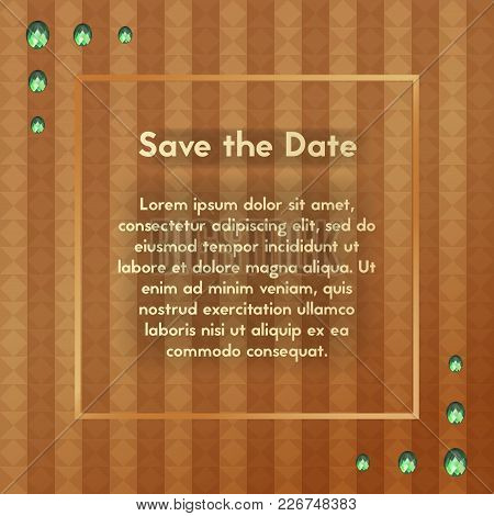 Postcard For Men. Save The Date. Vector Greeting Card With Diamond Jewelry. Your Text Here.