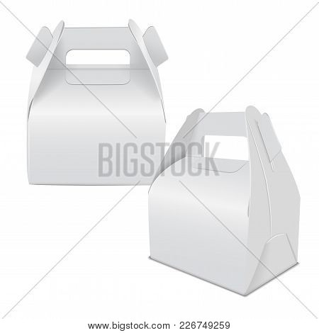 Realistic Paper Cake Package, Set Of White Box Mock Up, Gift Ontainer With Handle. Take Away Food Bo