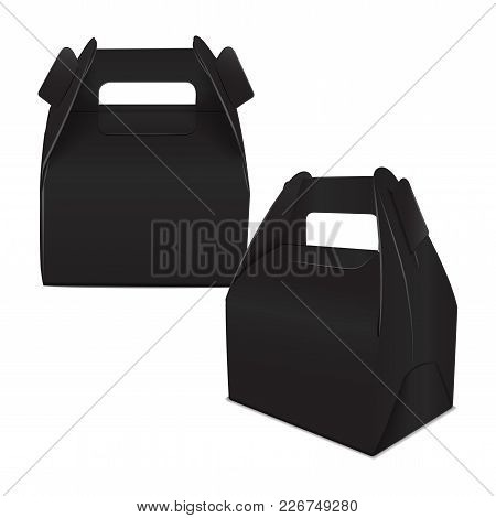 Realistic Paper Cake Package, Set Of Black Box Mock Up, Gift Ontainer With Handle. Take Away Food Bo