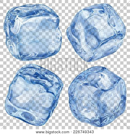 Set Of Realistic Translucent Ice Cubes In Blue Color On Transparent Background. Transparency Only In