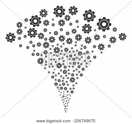 Cog Exploding Fountain. Vector Illustration Style Is Flat Iconic Symbols. Object Fountain Organized