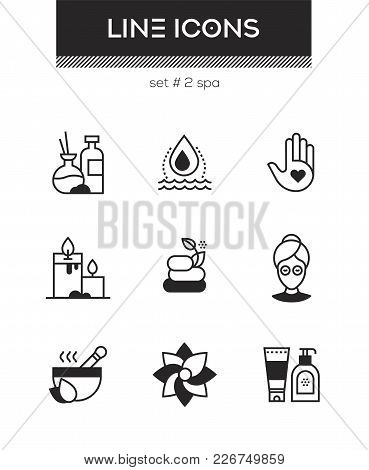 Beauty Spa - Set Of Line Design Style Icons Isolated On White Background. High Quality Images. Aroma