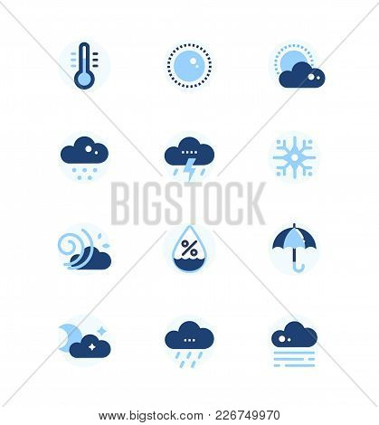 Weather Types Symbols - Set Of Flat Design Style Icons. High Quality Signs Images Of Thermometer, Cl