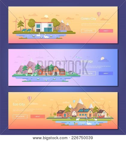 Eco City - Set Of Modern Flat Design Style Vector Illustrations On Orange And Lilac Background With