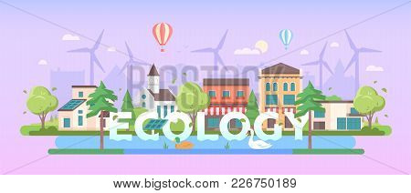Ecology - Modern Flat Design Style Vector Illustration On Purple Background. A Composition With Nice