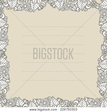 Vector Template With Flower. Decoration Floral Brochure. Your Text Here. Abstrsct Blossom Postcard