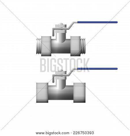 Steel Shutoff Valve Vector Illustration. The Equipment For Oil.