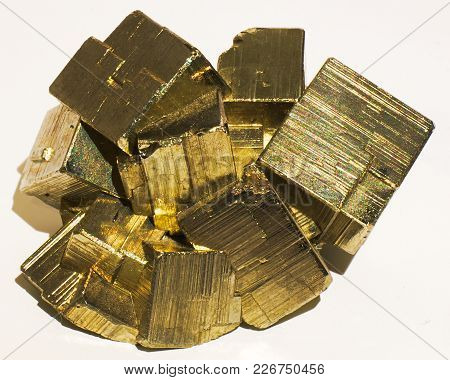 Pyrite Cubic Mineral Stone, Crystals, Golden, Squares
