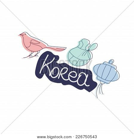 Vector Illustration For Korea Culture Promotion: Korean Lunar New Year Magpie, Korean Paper Lantern