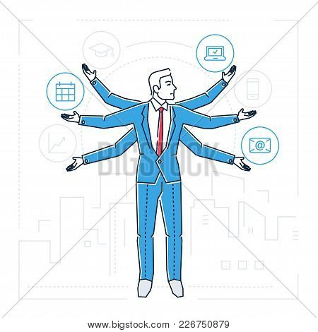 Multitasking - Line Design Style Isolated Illustration On White Background. Metaphorical Image Of A