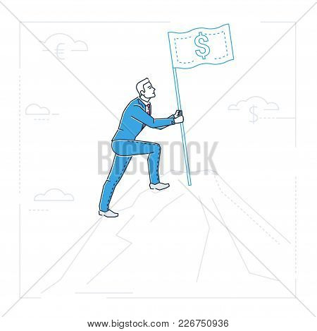 Goal Setting - Line Design Style Isolated Illustration On White Background. Metaphorical Image Of A
