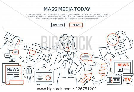 Mass Media Today - Modern Line Design Style Illustration On White Background. Banner With Heading, P