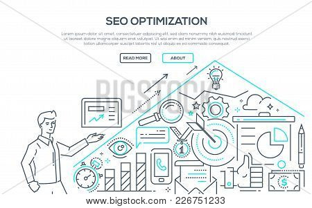 Seo Optimization - Modern Line Design Style Illustration On White Background. Banner With Heading, P