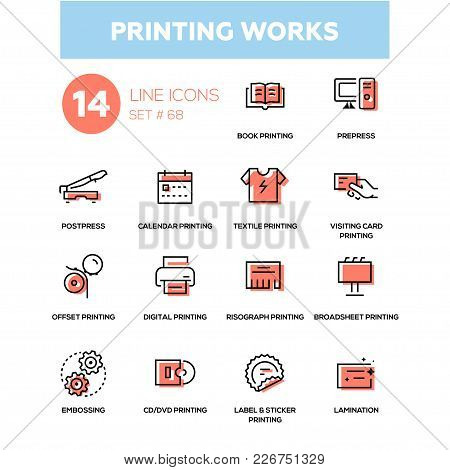 Printing Works - Line Design Icons Set. High Quality Black Pictogram. Book, Prepress, Postpress, Cal