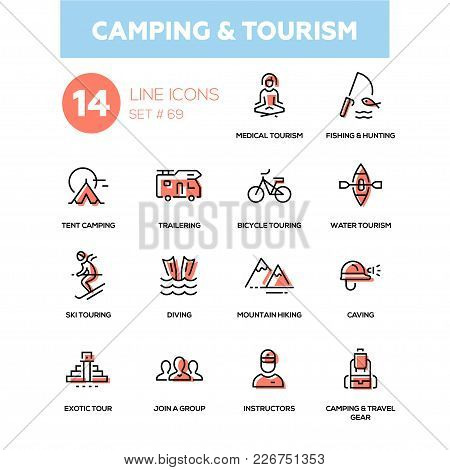 Camping And Tourism - Line Design Icons Set. Medical, Fishing, Hunting, Tent, Trailering, Bicycle To