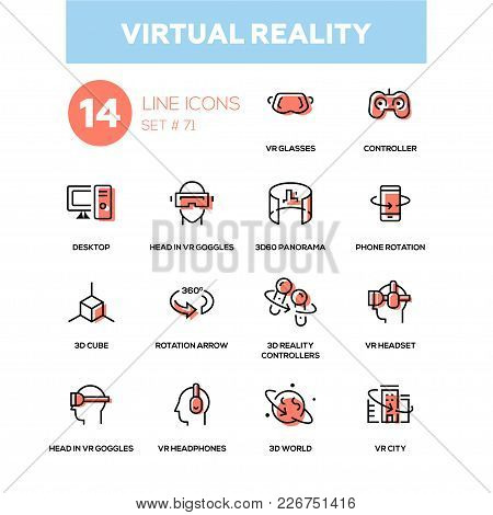 Virtual Reality - Line Design Icons Set. High Quality Black Pictogram. Vr Glasses, Controller, Deskt