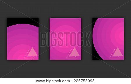 Abstract Circles Background In Trendy Ultra Violet Colors, Vector Illustration. Set Of Three Purple