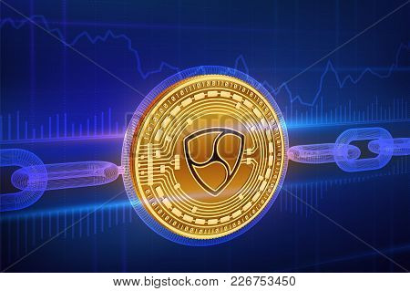 Crypto Currency. Block Chain. Nem. 3d Isometric Physical Golden Nem Coin With Wireframe Chain. Block