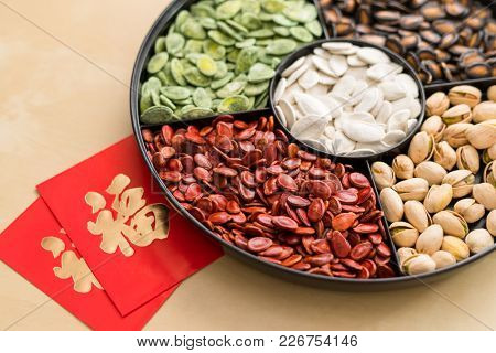 Chinese snack tray with red packet word mean luck