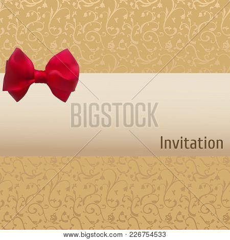 Vector Vintage Invitation. Red Bow On A Beige And Brown Background. Swirly Template.
