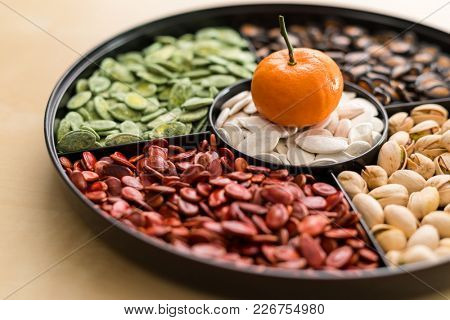 Chinese traditional snack tray for lunar new year