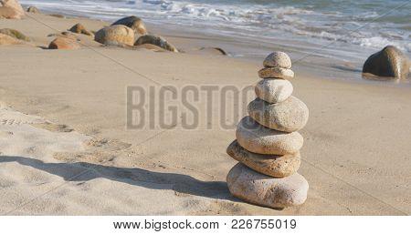Zen stones on a coast