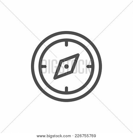 Navigation Compass Line Icon Isolated On White. Vector Illustration