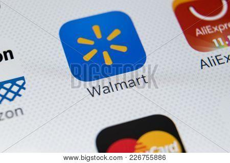 Sankt-petersburg, Russia, February 9, 2018: Walmart Application Icon On Apple Iphone X Screen Close-