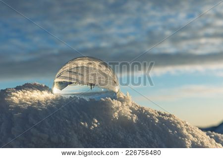 Winter Ridges Of The Krkonose Mountains. Crystal Ball With The Peak Of Snezka, The Highest Mountain