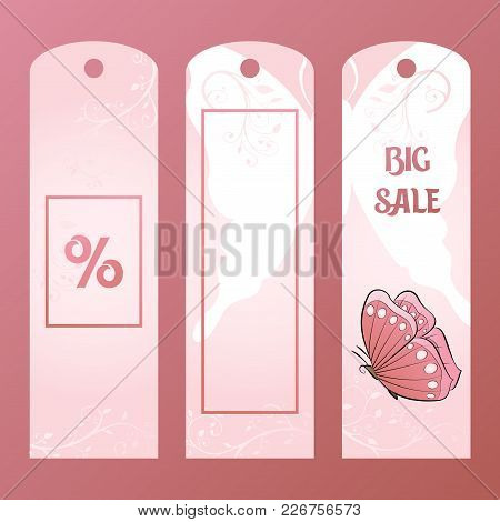 Paper Tag For A Big Sale Embellished Pink Butterfly. Label Value Of The Goods And Pastel Shades. Buy