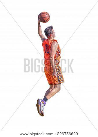 Basketball Player Slam Dunk Isolated On White Background