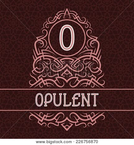 Vintage Label Design Template For Opulent Product. Vector Monogram With Text On Patterned Background